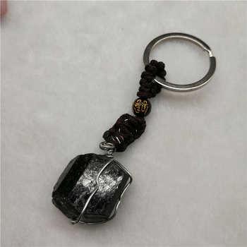 1 unidad de cristal Natural, turmalina negra, llavero de piedra negra, turmalina Original, espécimen de piedra, accesorios de joyería de moda, regalo