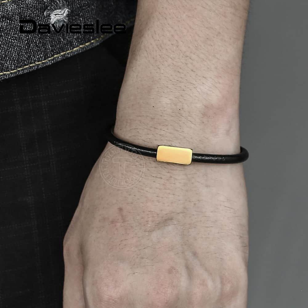 Personalizado Envolvente Pulsera Pulsera de Cuero Genuino para Hombre