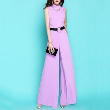 2020 Summer Clothes For Women Fashion OL Wide Leg Jumpsuit Vintage Loose Fit Rompers Elegant Slim Fit Party Womans Jumpsuit(China)