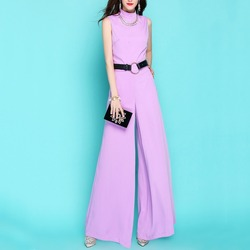 2020 Summer Clothes For Women Fashion OL Wide Leg Jumpsuit Vintage Loose Fit Rompers Elegant Slim Fit Party Womans Jumpsuit