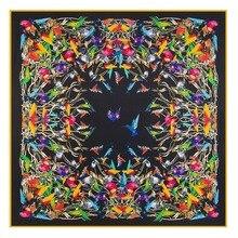 2020 kobiet chusta kwadratowa jedwabne szale kobiety luksusowej marki Twill szalik szal duży wzór z ptakami szalik hurtownie 130*130
