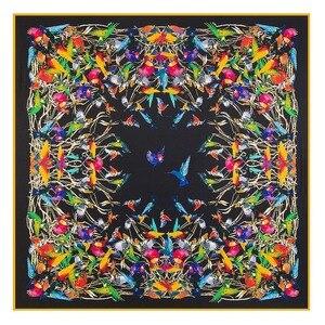Image 1 - Châle carré en soie pour femmes, châle de marque de luxe, en sergé, grand motif doiseau, vente en gros, 2020*130, 130