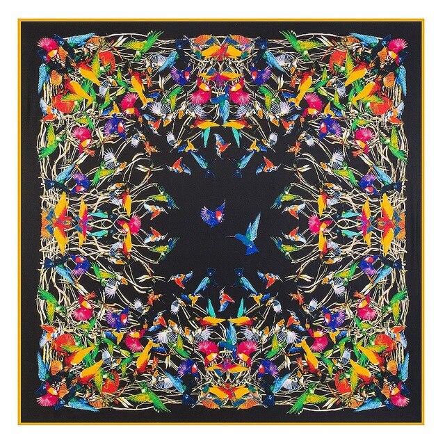 Châle carré en soie pour femmes, châle de marque de luxe, en sergé, grand motif doiseau, vente en gros, 2020*130, 130