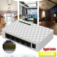 미니 5 포트 데스크탑 기가비트 스위치 고속 이더넷 스위처 네트워크 스위치 1000 Mbps LAN 허브 어댑터 전체 또는 반이중 교환