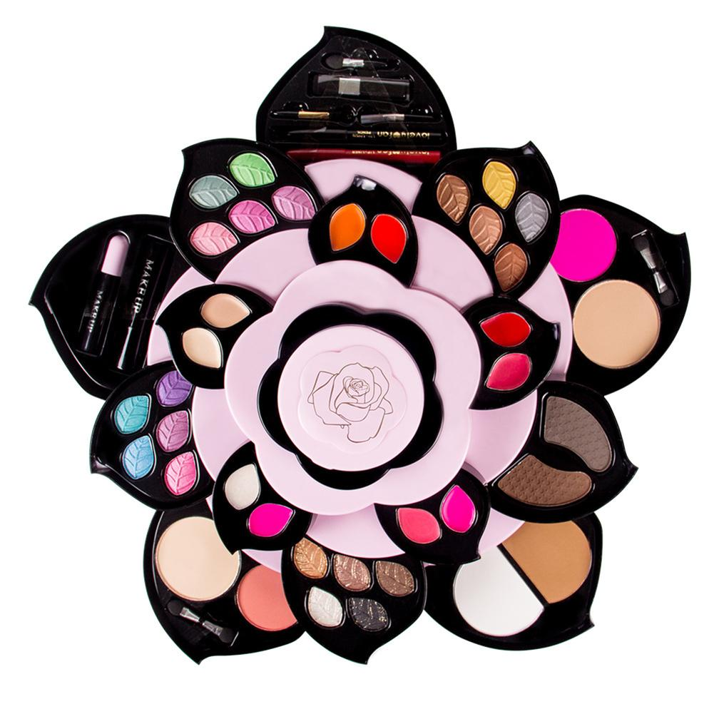 Makeup Set Makeup Box Flower Shape Eye Makeup Eyeshadow Palette Smoky Glitter Eye Shadow Rotating Set Cosmetic Case Make Up Kit