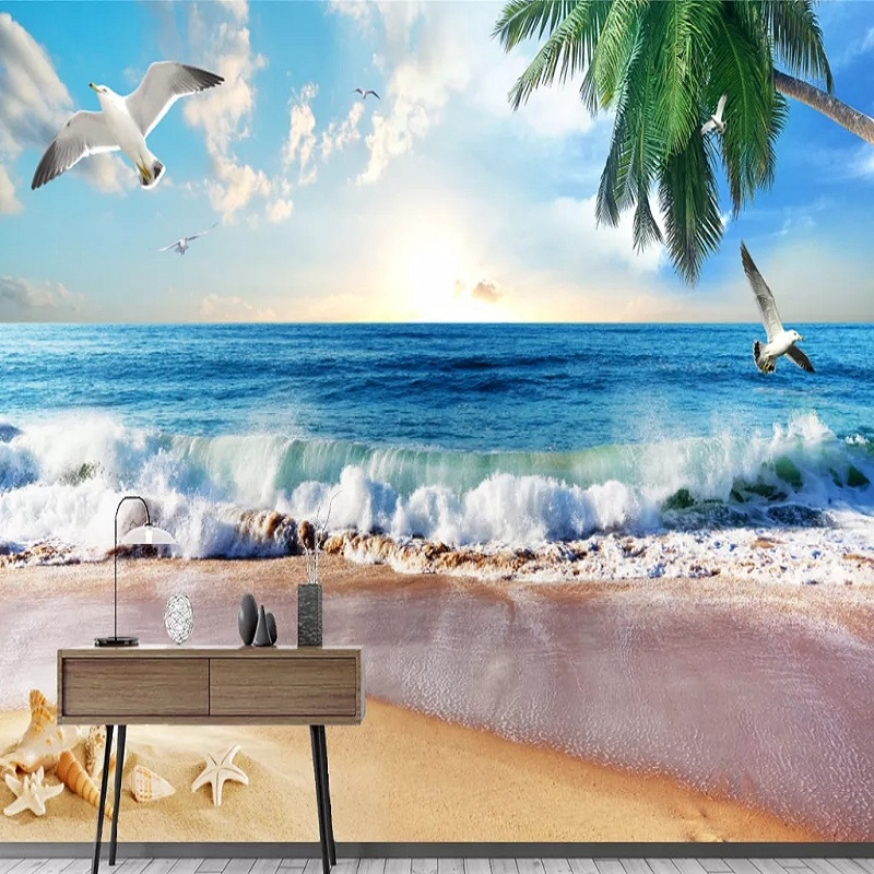 Custom Large Mural 3D Wallpaper Modern Creative 3D Expansion Space Beach Coconut Tree TV Back Wall Decor Deep 5D Embossed