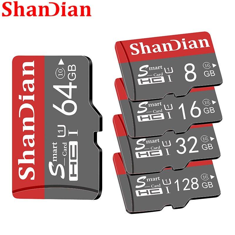 SHANDIAN Смарт SD карта 32 гб высокая скорость класс 10 16 Гб/64 ГБ реальная емкость 128 ГБ мини SD карта памяти TF карта для смартфона
