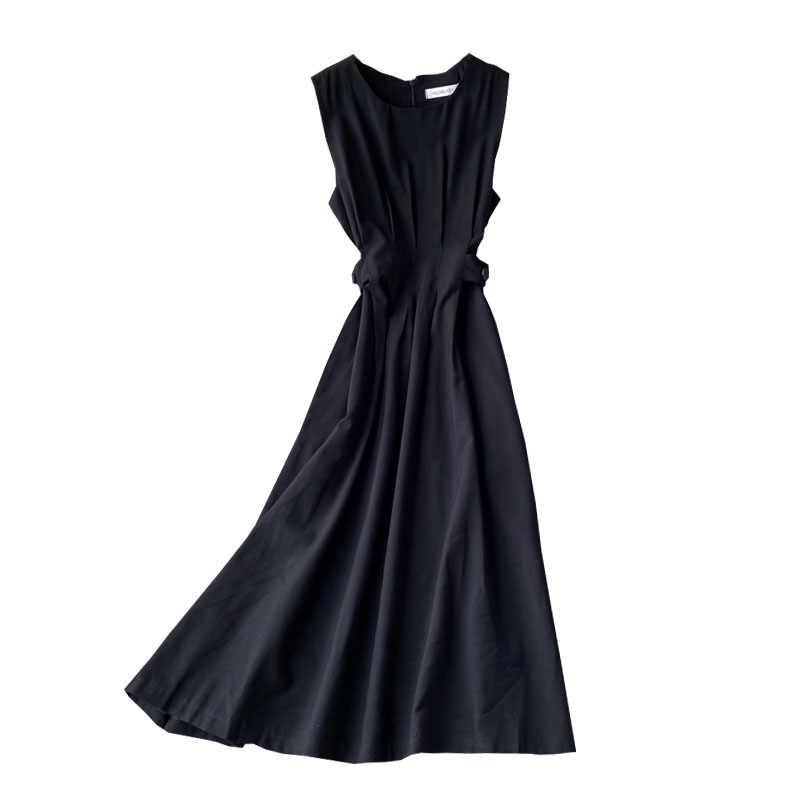Singrain Vrouwen 2020 Zomer Tank Feestjurk Mode Mouwloze O Hals Effen A-lijn Jurk Koreaanse Eenvoudige Streetwear Midi Jurk