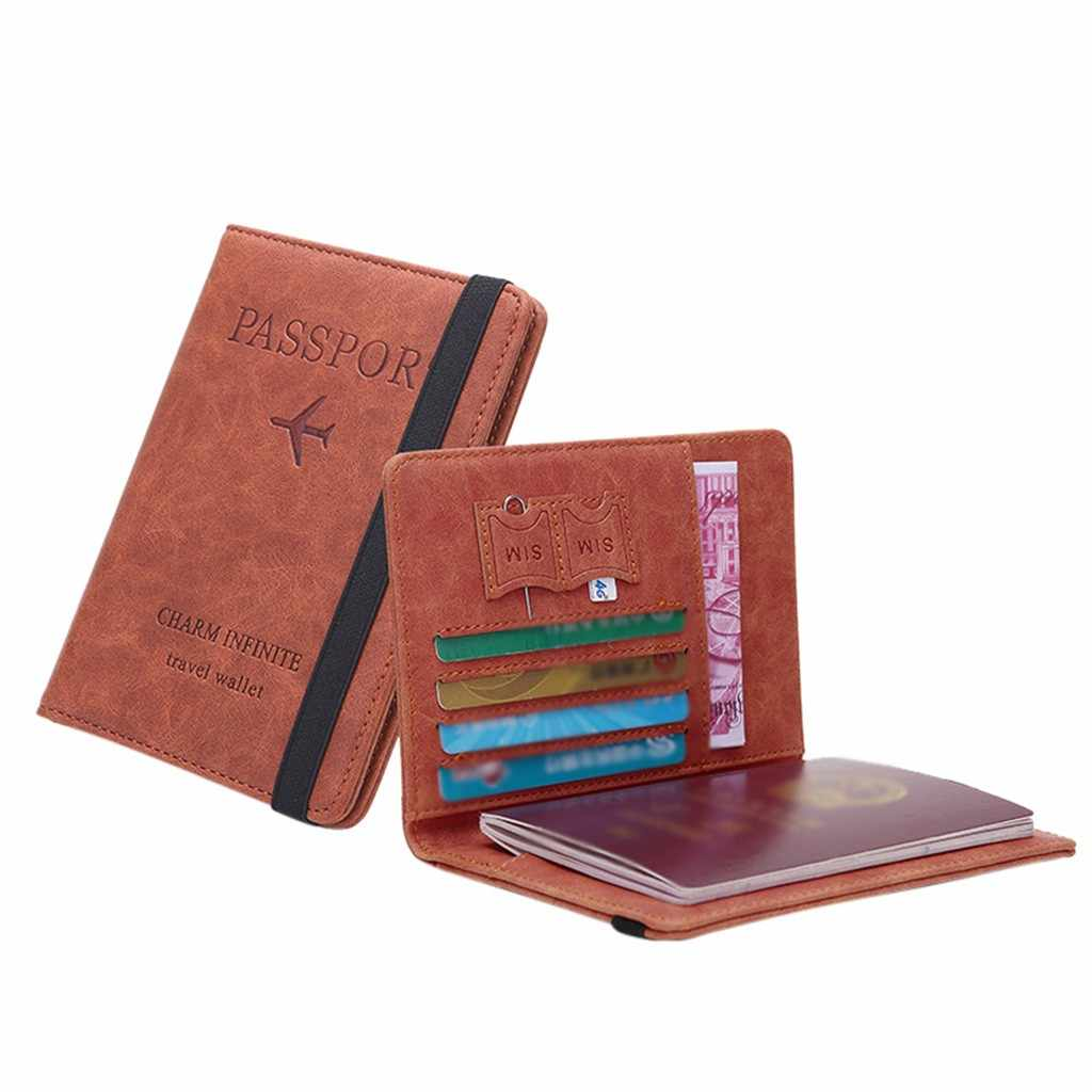 ניטראלי רב תכליתי נסיעות דרכון ארנק תלת לקפל מסמכים ארגונית מחזיק למעלה 2019 חדש דק מזדמן עור ארנק