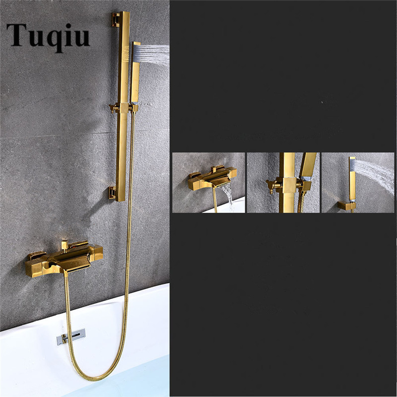 Bathtub Shower Set Wall Mounted White Waterfall Bathtub Faucet, Cold and Hot Gold Bath and Shower Mixer Tap Brass Black/Chrome