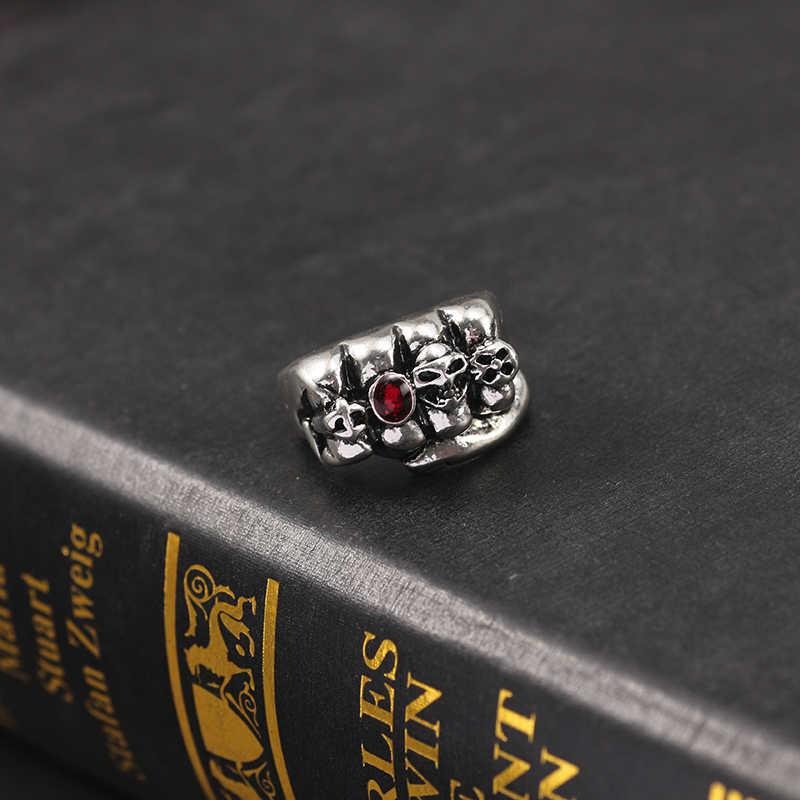 2019 винтажный череп панк кольцо в форме кулака для мужчин мальчиков Ретро Красный Кристалл Скелет металлические мужские кольца хип хоп крутые вечерние Ювелирные изделия Подарки