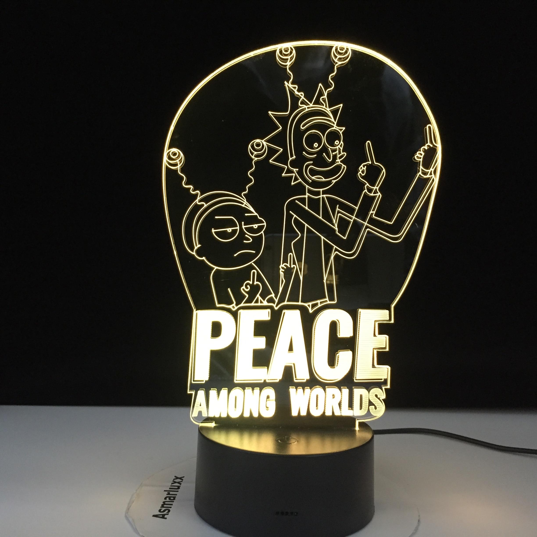 Мир среди миров Рик и Морти лампа дети ночник для украшения спальни сенсорный датчик изменение 3d светодиодный ночник Прямая поставка