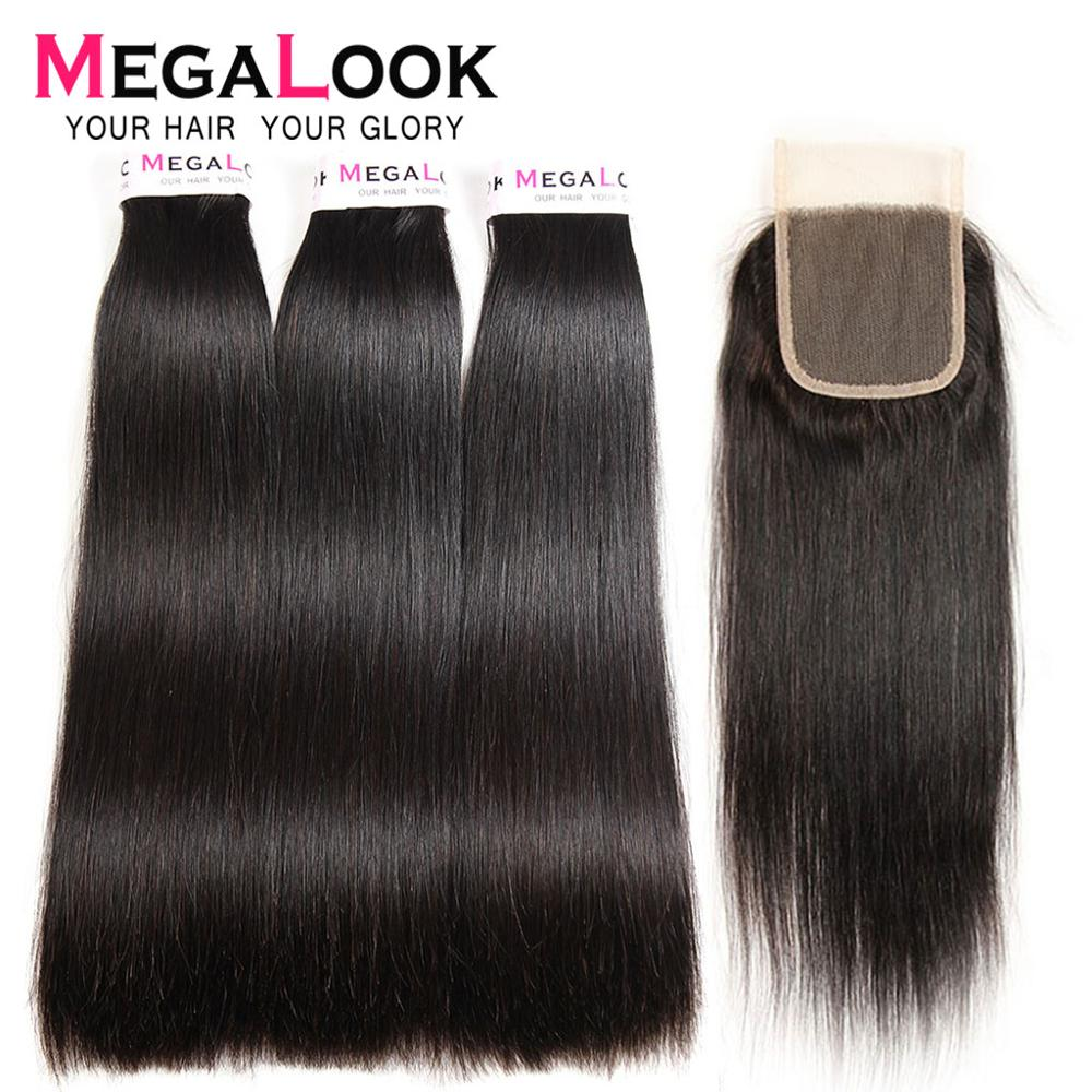 Straight Hair Bundles With Closure Super Double Drawn Megalook Hair Virgin Brazilian Hair Human Hair Bundles With Closure 3 4