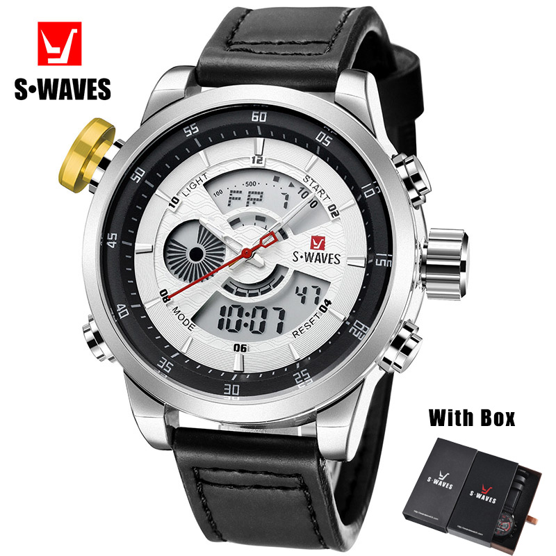 Swaves Brand Leather Watch Man Dual Display Waterproof Wristwatch Mens Digital Quartz Watches With Box Luxury Relogio Masculino