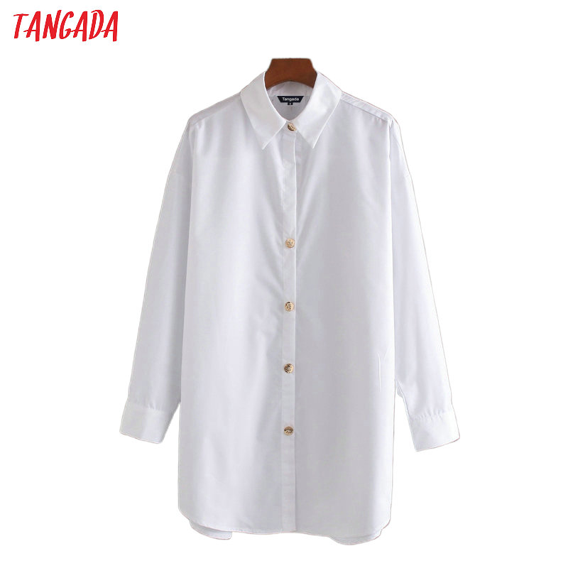 Tangada Women White Cotton Long Shirts Long Sleeve Solid 2020 New Arrival Ladies Oversized Casual Tops Blouses CE221