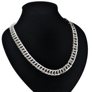 Ожерелье для мужчин 9 мм тяжелое Серебро Цвет Нержавеющая сталь длинный массивный Снаряженная кубинская звеньевая цепь мужские модные ювел...