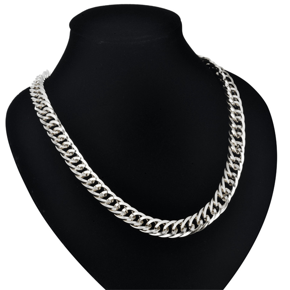 """Necklace For Men 9MM Heavy Silver Color Stainless Steel Long Chunky Curb Cuban Link Chain Mens Fashion Jewelry 22-30"""""""
