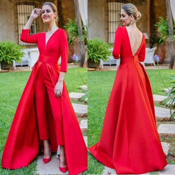 Dubai Red Jumpsuits Formal Evening Dresses With Detachable Skirt V Neck Sleeve Backless Prom Dresses Party Wear Pants For Women