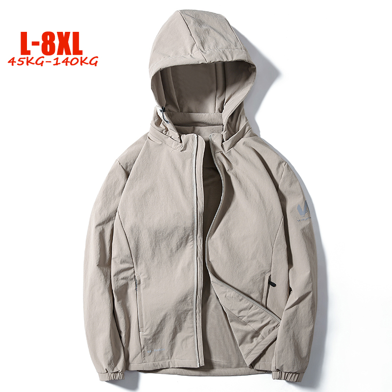 6XL 7XL 8XL Jackets Men Big Size Casual Men Hooded Jacket L-8XL Loose Plus Size Brand Solid Men's Jackets Coats Autumn