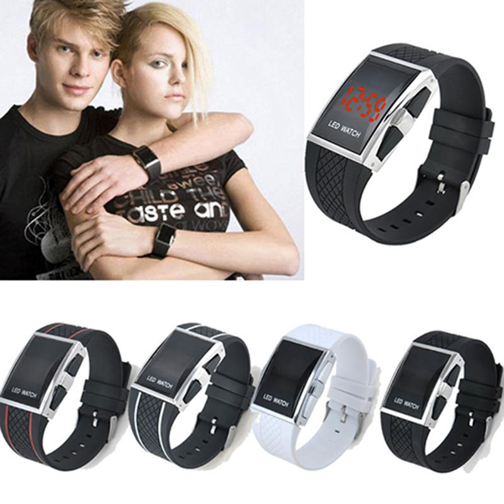 Fashion Casual Unisex Square Case LED Digital Display Sports Wrist Watch Gift Mas-culino Fashion Men's Watch Large Dial Military
