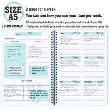 Niebieski codzienny tygodniowy Agenda notebooki elastyczny pcv twarda osłona osobisty pamiętnik Shedule Agenda notatnik niedatowany notatnik