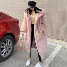 High Quality Hoodies Long Pink Faux Fur Coat Oversized Thicken Elegant Rabbit Fur Women Winter Coat Plus Size Female Plush Coats