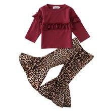 Детская футболка с цветочным принтом для маленьких девочек, топы+ расклешенные брюки, комплект одежды для маленьких девочек