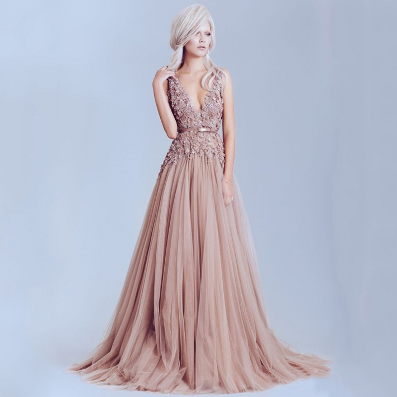 Dusty Pink Vintage Lace Elegant Long Pearls Backless Prom Formal Evening Gown Vestido De Festa Mother Of The Bride Dresses