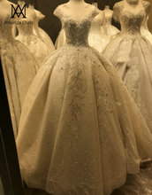 Hochzeitskleid שווי שרוול תחרת Applique קריסטל חרוזים חתונה שמלה