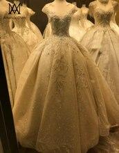 Hochzeitskleid キャップスリーブレースアップリケクリスタルビーズのウェディングドレス