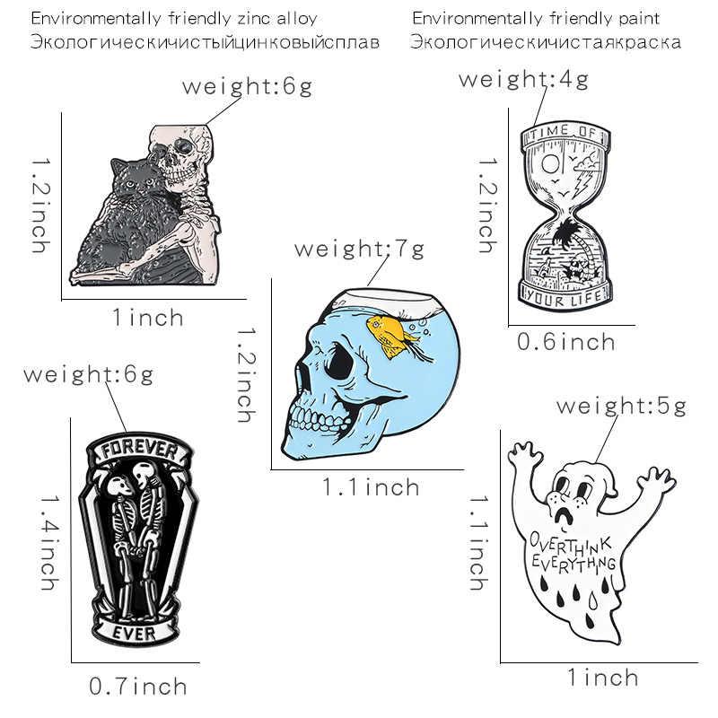Kreatif Kerangka Logam Enamel Bros Anda Hidup Jam Tangki Ikan Hantu Holding Kucing Tengkorak Pin Lencana Gothic Trendi Perhiasan Hadiah