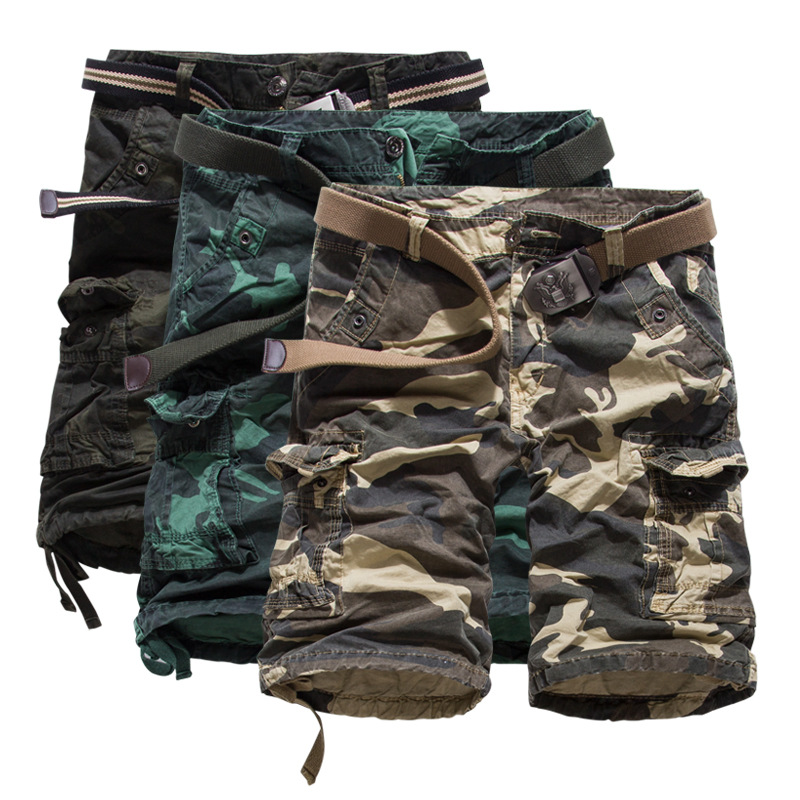 Special Offer Seconds Batch Bib Overall Fashion Europe And America Camouflage Large Size Workwear Shorts Men's 5 Pants Pure Cott