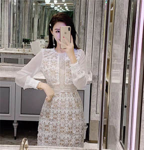 Dress Flowers Lace-Stitching Long-Sleeve Office-Work Autu White Hollow Ladies Chain Link