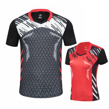 Nowe koszule do badmintona męskie damskie koszulki sportowe koszulki do tenisa stołowego sportowe koszulki do biegania męskie koszulki tenisowe bezpłatne drukowanie tanie i dobre opinie ZISURON Poliester Krótki Szybkie suche Oddychające Anti-shrink Przeciwzmarszczkowy Anty-pilling Pasuje prawda na wymiar weź swój normalny rozmiar