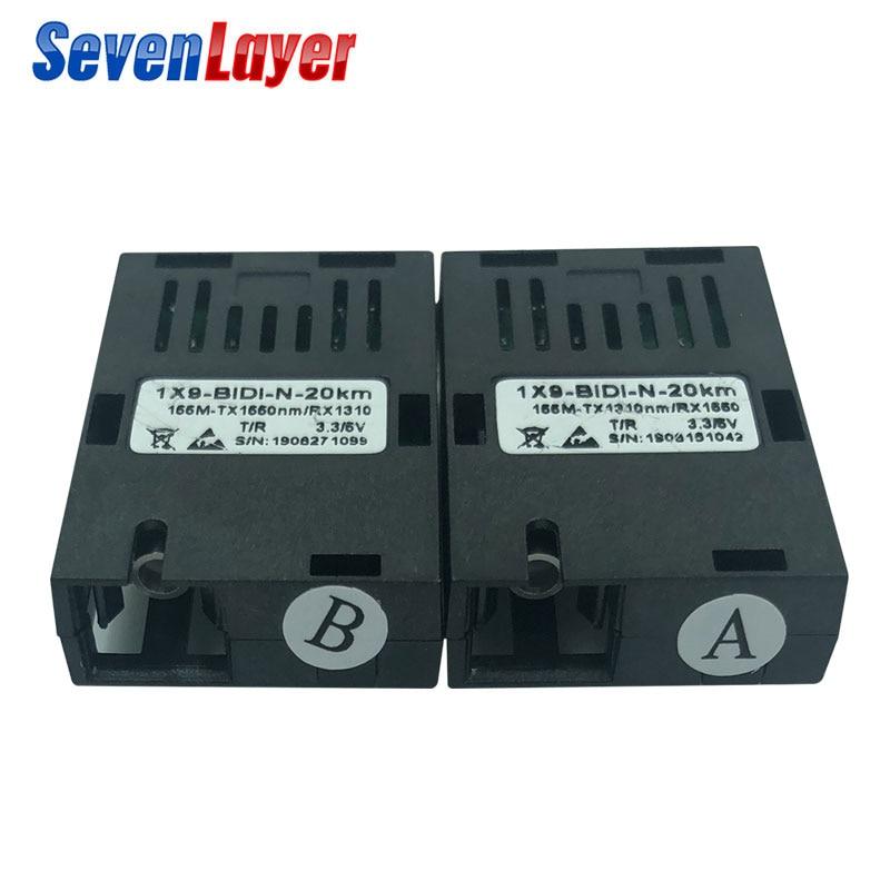 155M Single Fiber SC Connector Bidi 20km 1*9 Module Optical Transceiver For 100M Media Converter HTB-3100
