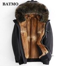 BATMO natural Raccoon fur collar mink fur liner hooded parkas men,men's winter warm hooded