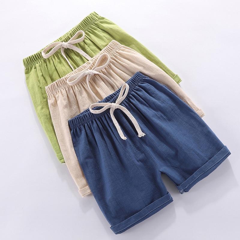 Children Home Short Summer Thin Section Girls Pure Little Boy Shorts Pants Cotton Linen Mainland China Unisex Solid Color Transp