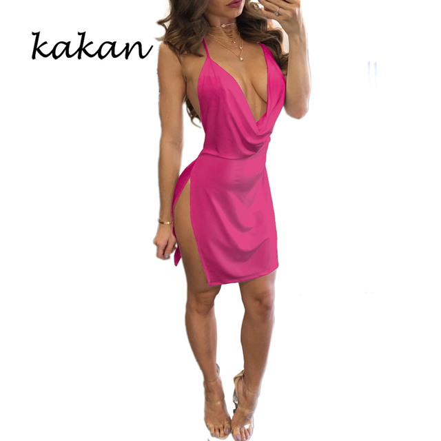 Kakan summer new women's suspender dress high slit sexy low-cut backless dress multi-color optional XS-3XL dress 8