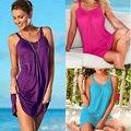 2020 sommer Frauen Ärmellose O Hals Einfarbig Strand Bade Lose Beiläufige Sexy Bikini Abdeckung Ups Sommerkleid Mini Kleid