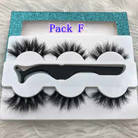 Mikiwi 3Pack With tweezers 3 Pairs Mink Eyelashes Suit 3D Mink Lashes Thick Full Strip Lashes Makeup Dramatic Lashes