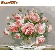 Ruopoty рамка розовая роза diy Краска ing по номеру Современная