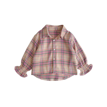 Autumn Girls Plaid Shirt Children Sweet Lace Sleeve Shirts Bottoming Shirt Children'S Clothing Baby Girls Blouse Shirts Hot Sale spring fall teenager baby school girls white blouse lace bow girls tops kids plaid shirt long sleeve shirts children s clothing