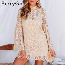 BerryGo Sexy lace embroidery women dress Elegant flare sleev