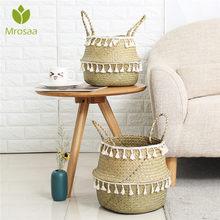 Paniers de rangement en bambou faits à la main panier en osier d'herbier de jardin Pot de fleur de jardin panier à linge conteneur porte-jouet avec gland blanc