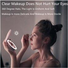 LED зеркало для макияжа с зарядки Банк силы Lghted свет увеличительное зеркала 5х составляем тщеты