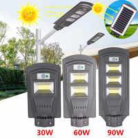 Солнечный уличный светильник 30 Вт 60 90 Вт светодиодный настенный светильник водонепроницаемый открытый радар движения для сада двора проже...