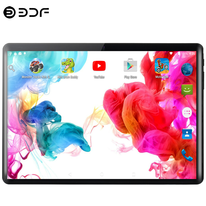 10.1 Inch Tablet PC 4G Phone Call Android 9.0 Ten Core 8GB RAM 128GB ROM 8.0MP IPS Cards 2.5D Tempered Glass Tablets PC