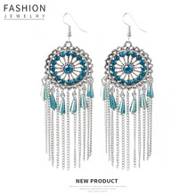 Hello Miss Fashion Retro Sun Flower Chain Tassel Earrings Bohemia Holiday Pendant Womens Jewelry Gifts