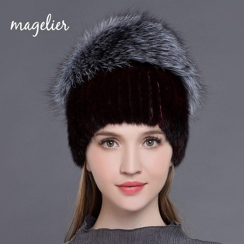 Real Fur Hats for Women Russian Winter Warm Black Natural Mink Fur Beanies Fashion Brand Big Fox Fur Caps Soft New Arrival