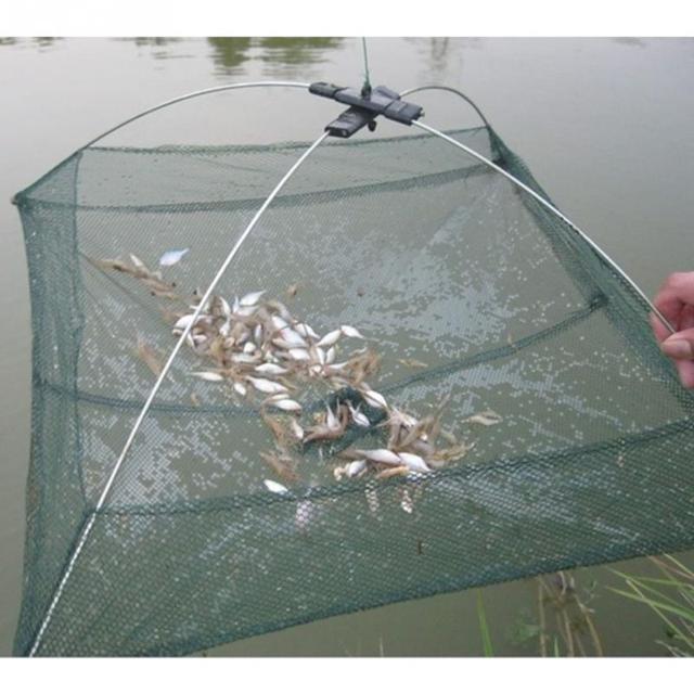 Red de pesca plegable portátil, 60x60cm, red de Nylon, Red de Camarón, Red de fundición, jaula de pesca, rejilla al aire libre